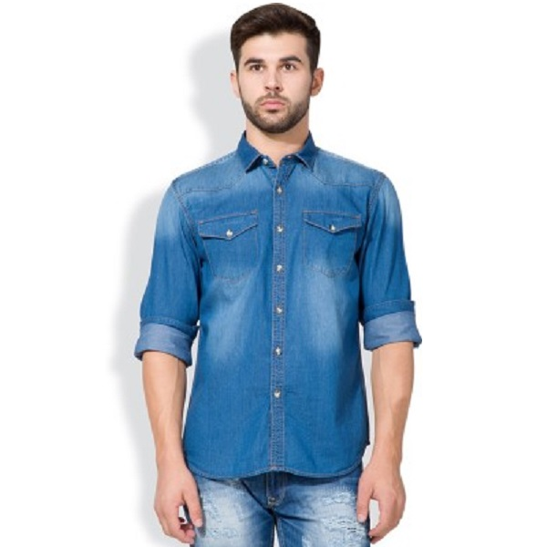 Highlander Mens Solid Casual Denim Shirt