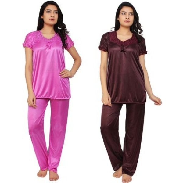Krazy Katz Womens Solid Top And Pyjama Set
