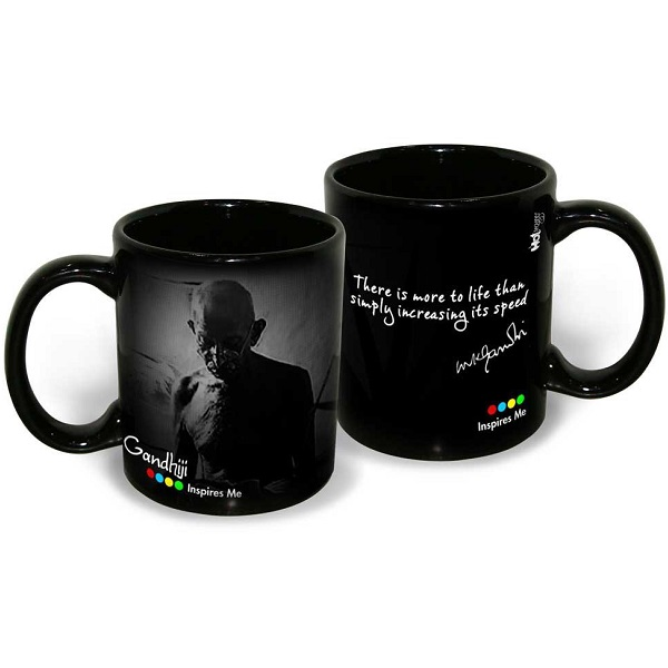 Hot Muggs Mahatma Gandhi Quote on Life and Speed Ceramic Inspirational Mug