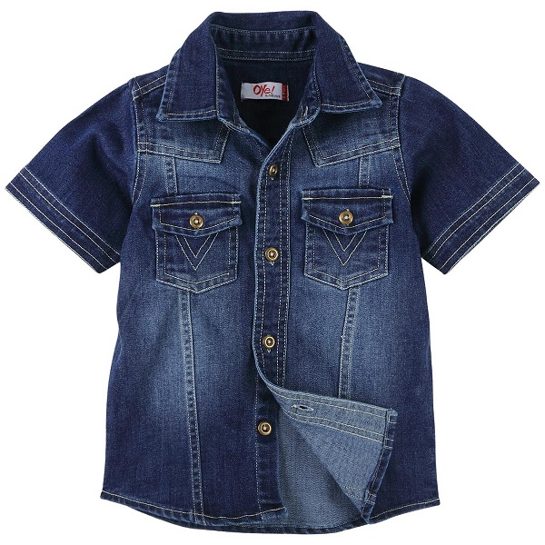 Oye Boys Solid Denim Half Sleeve Shirt