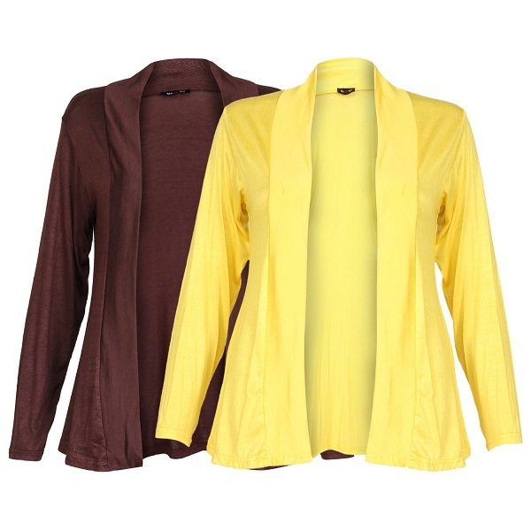 Ten on Ten Womens Pair of Yellow Brown Long Shrug