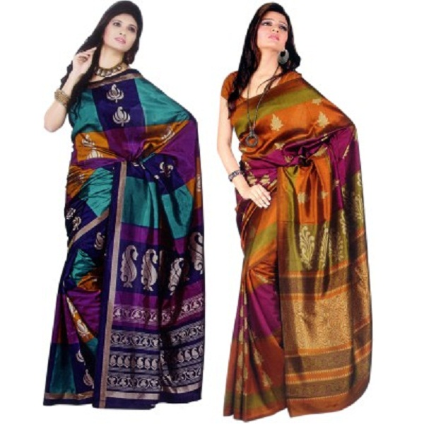 Sunaina Printed Daily Wear Art Silk Sari Pack of 2