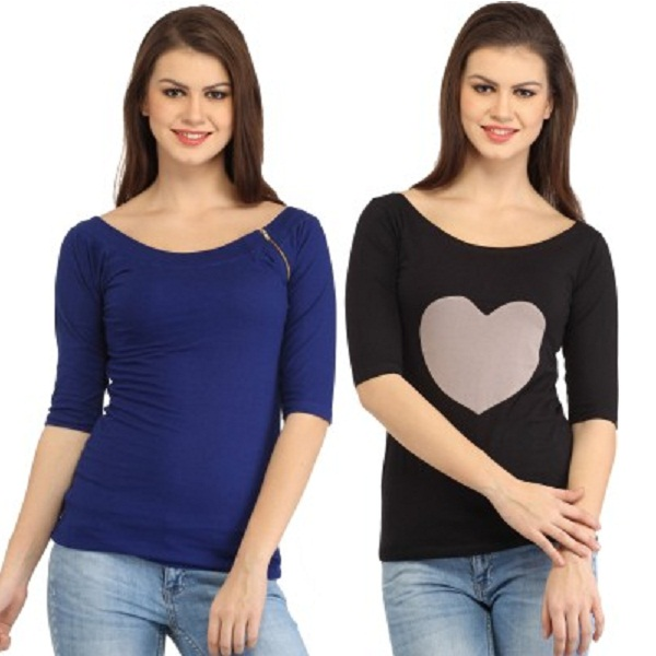 Cation Casual Sleeve Solid Womens Top Pack of 2