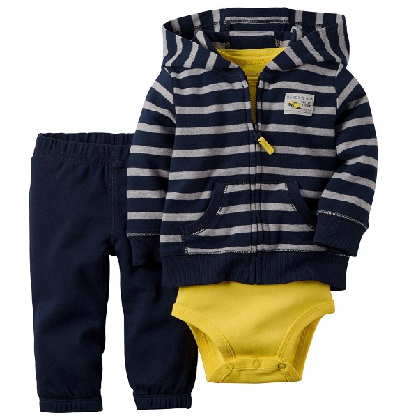 Carters Infant Boys 3 Piece Bodusuit Set With Hooded Jacket