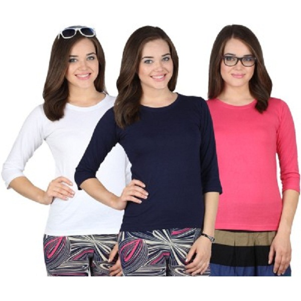 SayItLoud Solid Womens Round Neck T Shirt Pack of 3