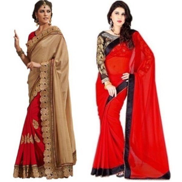 MAA CREATION Solid Fashion Georgette Net Sari Pack of 2