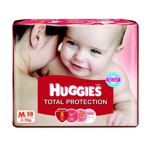 Huggies Total Protection Medium Size Diapers 58 Count
