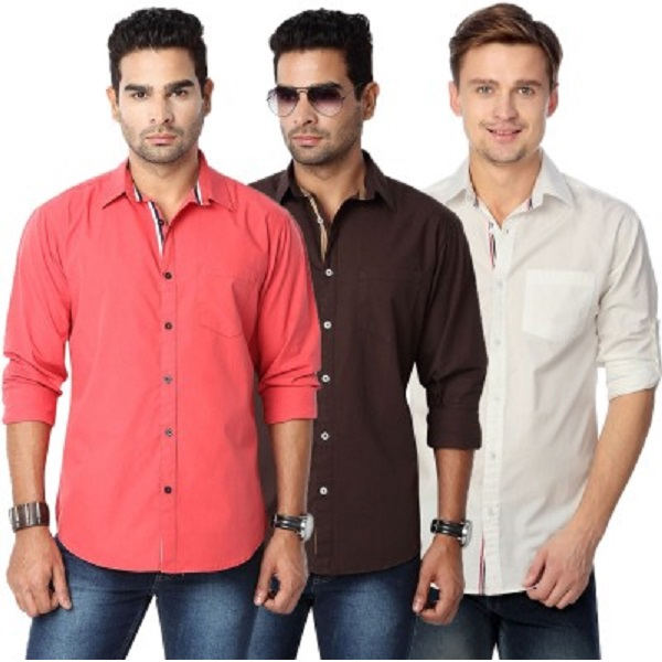 Suspense Mens Solid Casual Shirt Pack of 3