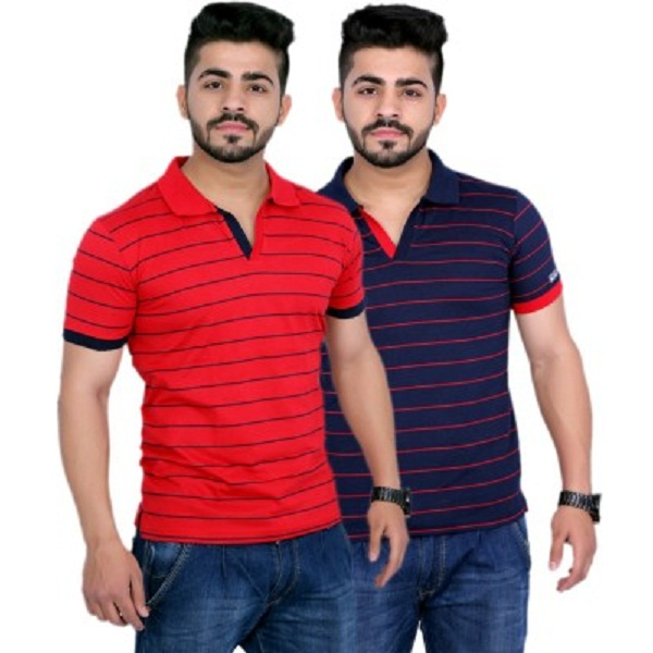 Duke Stardust Striped Mens Polo Neck TShirt Pack of 2