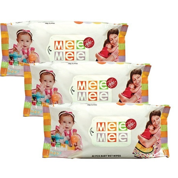 Mee Mee Baby Wet Wipes 3 Packs 80 Sheets per Pack