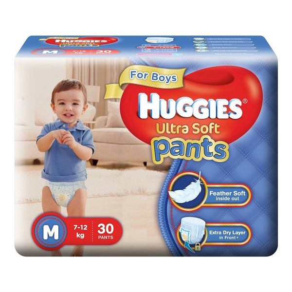 Huggies Ultra Soft Pants Medium Size Premium Diapers for Boys 30 Count