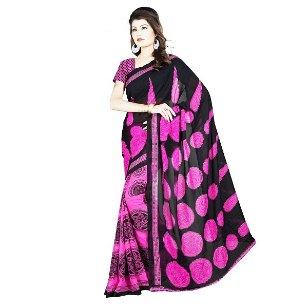 DivyaEmporio Faux Georgette Womens Saree with Unstitched blouse