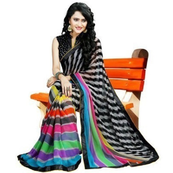 Gini Gold Printed Bollywood Raw Silk Sari