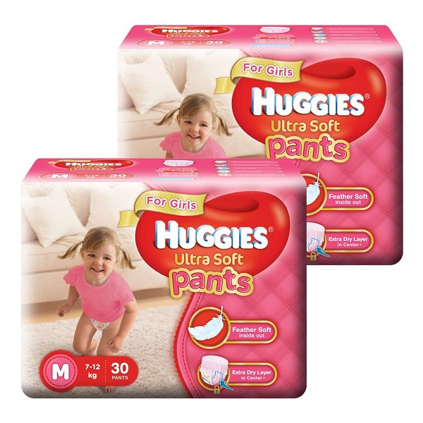 Huggies Ultra Soft Pants Medium Size Premium Diapers for Girls