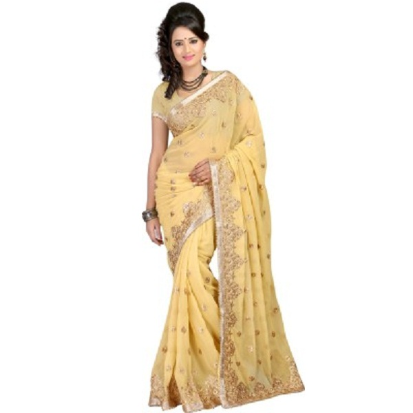 Bunny Sarees Solid Bollywood Georgette Sari