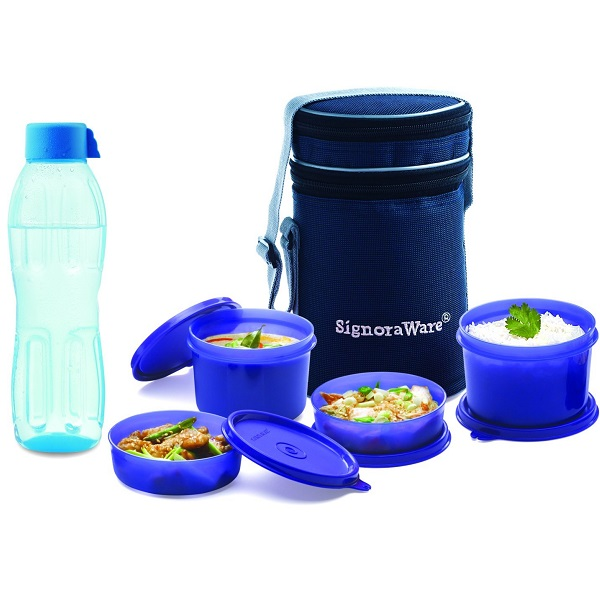 Signoraware Executive Lunch Box with Bag Aqua Bottle 500ml Free