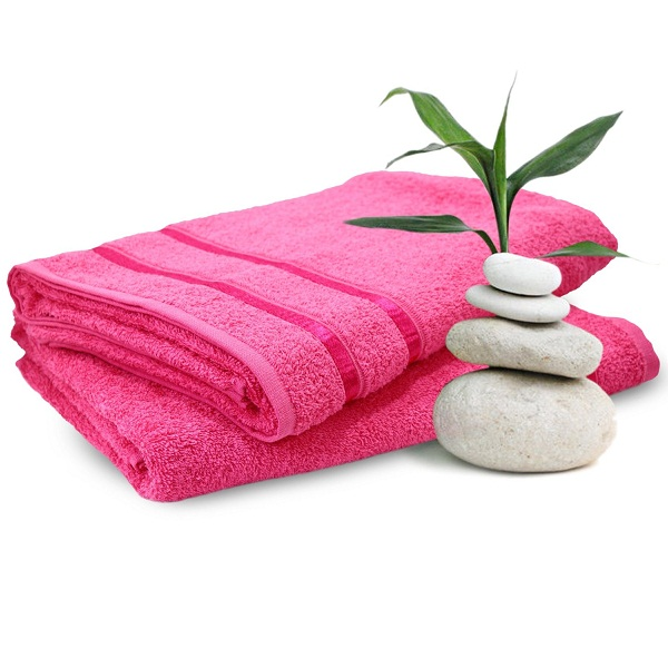 Story Home His and Her 2 Piece Cotton Bath Towel Premium Superior Trendy Quick Dry Pink